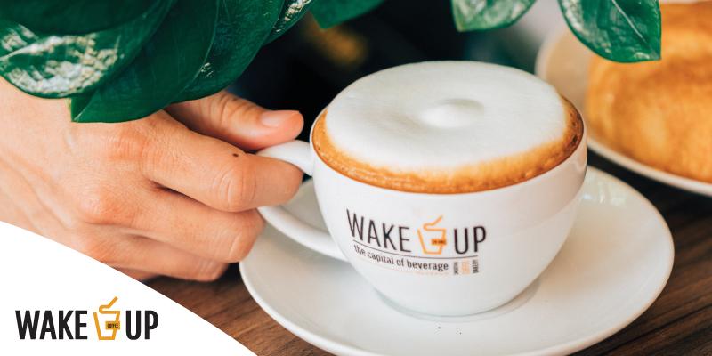 รับส่วนลด 50% สำหรับเครื่องดื่มทุกเมนู ที่ Wake Up Coffee